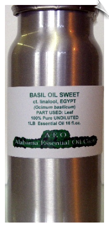 Basil Essential Oil, sweet ct. linalool, Egypt