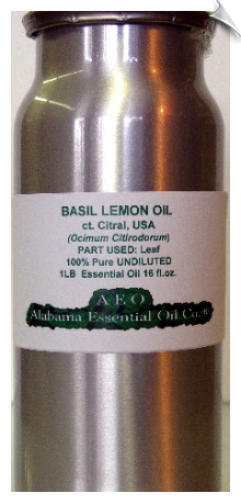 Basil Essential Oil, ct. citral (Lemon basil), USA